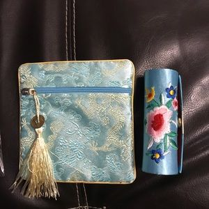 NWOT Blue and yellow bag and lipstick holder.